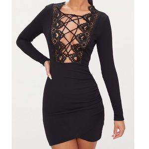 PRETTY LITTLE THING Black Lace-Up Mini Dress